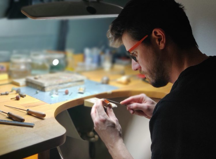 Tomas Miskovic, the Founder of Unexpected Jewelry is creating a new ring in his atelier in Vienna.